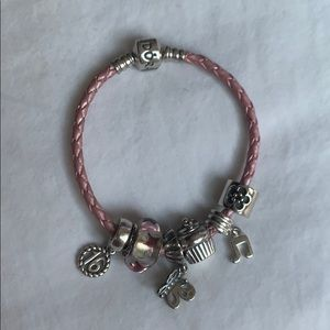 Pandora Pink Leather Bracelet *without charms*